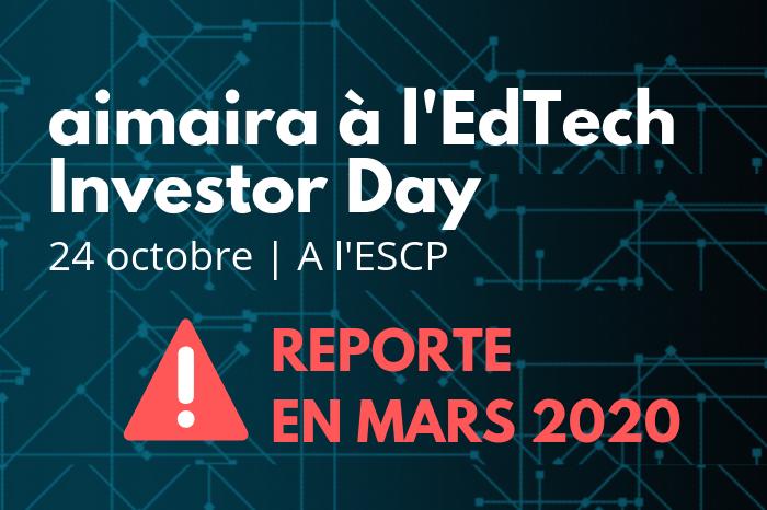 aimaira sera présent à l'edTech Investor Day – Evénement reporté en mars 2020